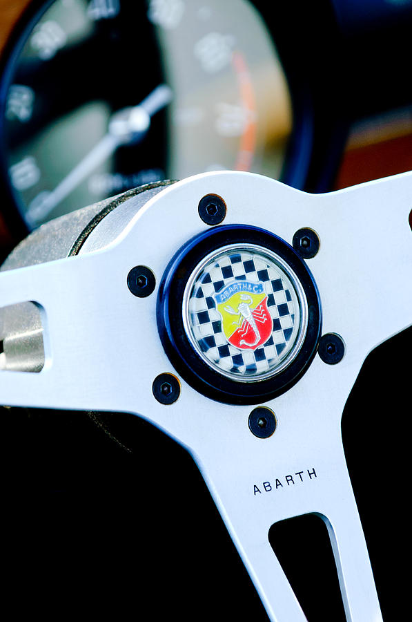 1967 Fiat Abarth Steering Wheel Emblem Photograph by Jill Reger
