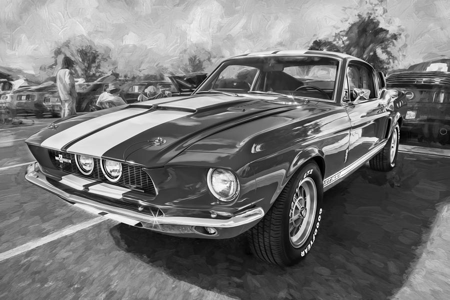 1967 Ford Shelby Mustang GT500 Painted BW Photograph by ...