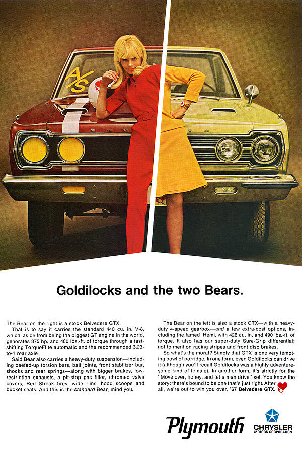 1967 Digital Art - 1967 Plymouth Gtx - Goldilocks And The Two Bears. by Digital Repro Depot