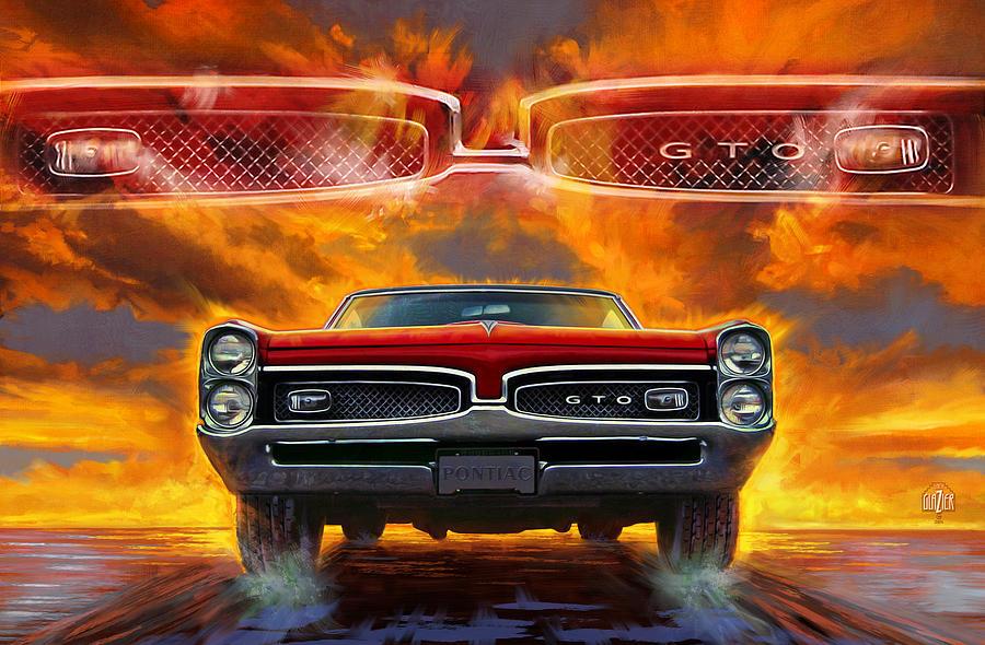 Sunset Digital Art - 1967 Pontiac Tempest Lemans Gto  by Garth Glazier
