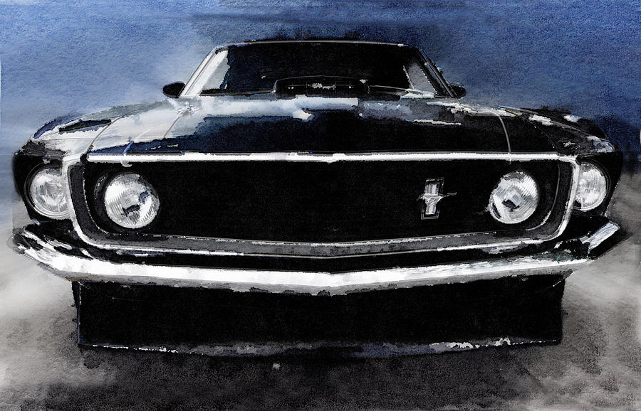 Ford Mustang Shelby Painting - 1968 Ford Mustang Shelby Front Watercolor by Naxart Studio