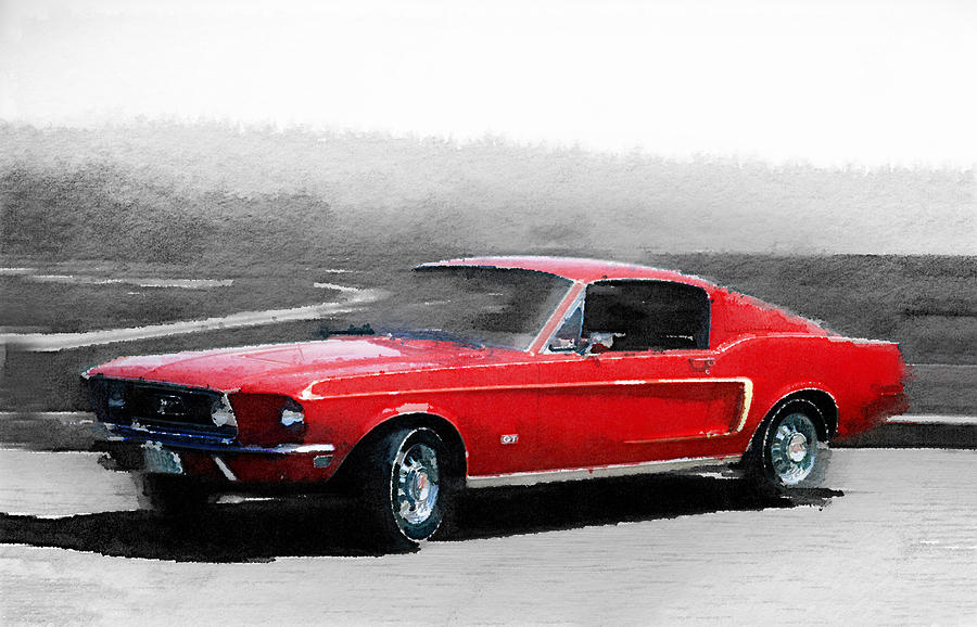 1968 Ford Mustang Painting - 1968 Ford Mustang Watercolor by Naxart Studio