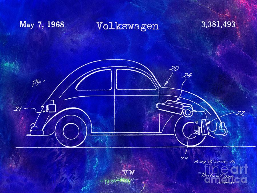 Vw Photograph - 1968 Vw Patent Drawing Blue by Jon Neidert