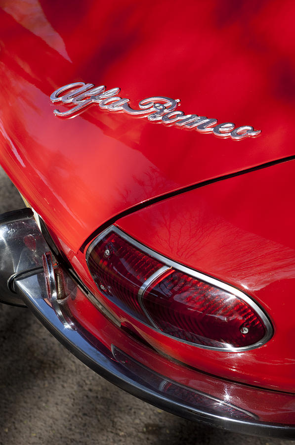 Sports Car Photograph - 1969 Alfa Romeo 1750 Spider Taillight Emblem by Jill Reger