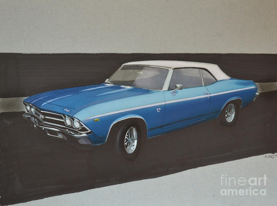 Car Drawing - 1969 Chevelle by Paul Kuras