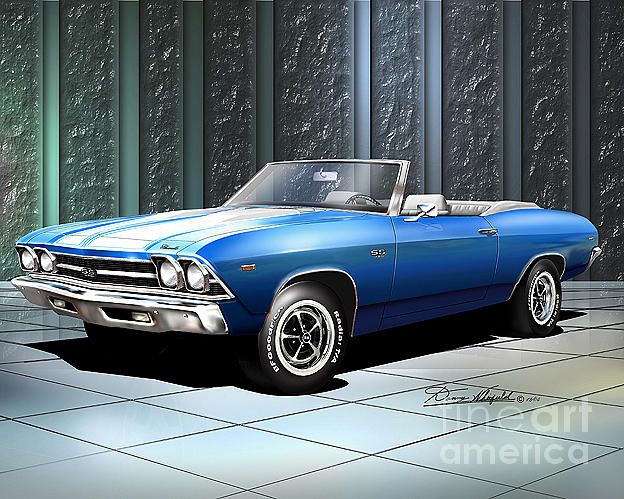 Chevrolet Chevelle Drawing - 1969 Chevelle Ss Convertible Mulsanna Blue by Danny Whitfield