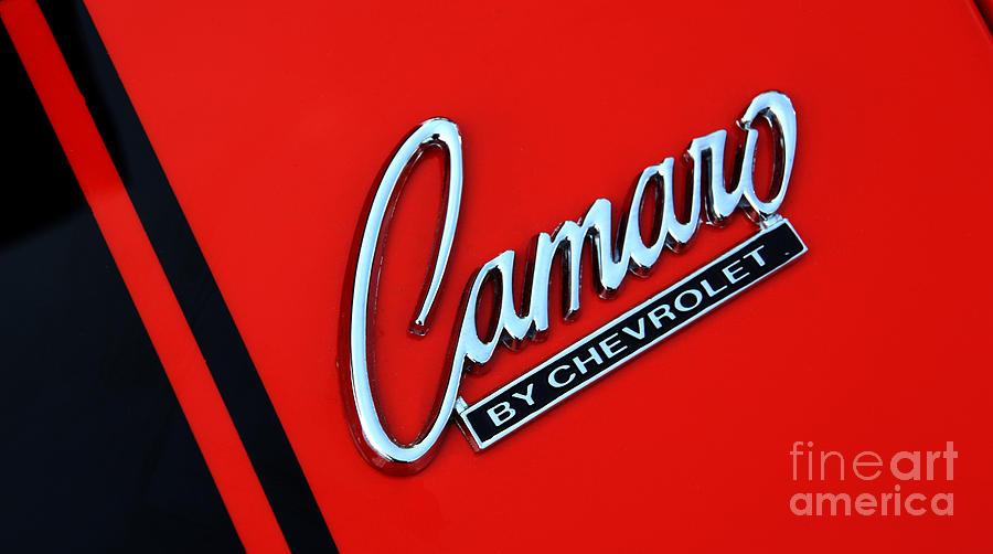 1969 Chevrolet Camaro Rs Orange Hood Logo 7583 Photograph