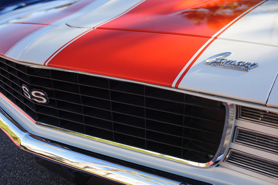 Muscle Cars Photograph - 1969 Chevrolet Camaro Rs-ss Indy Pace Car Replica Grille - Hood Emblems by Jill Reger