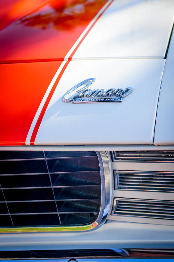 Muscle Cars Photograph - 1969 Chevrolet Camaro Rs-ss Indy Pace Car Replica Hood Emblem by Jill Reger