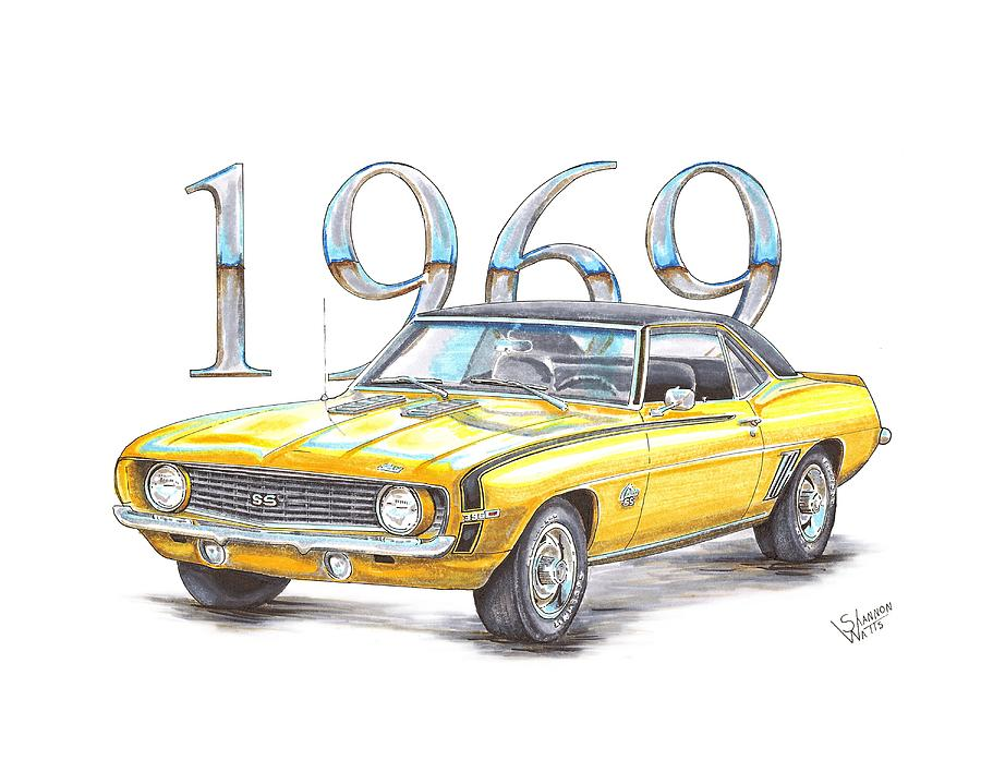 1969 chevrolet camaro super sport drawing by shannon watts