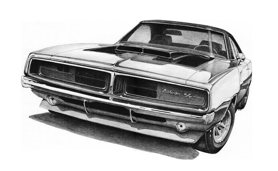 1969 dodge charger r t drawing by nick toth. Black Bedroom Furniture Sets. Home Design Ideas