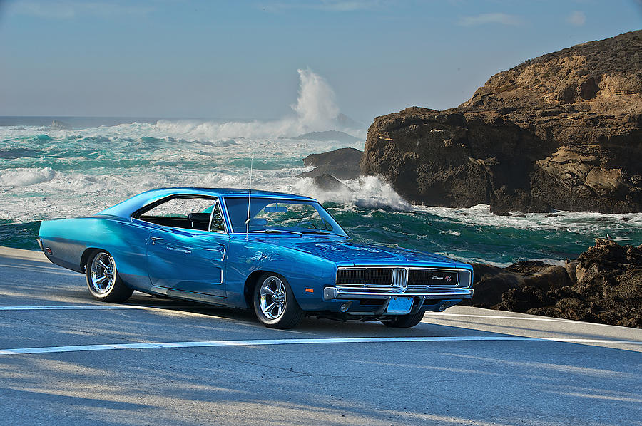 Blue Dodge Charger >> 1969 Dodge Charger Rt At Oceanside Photograph by Dave Koontz