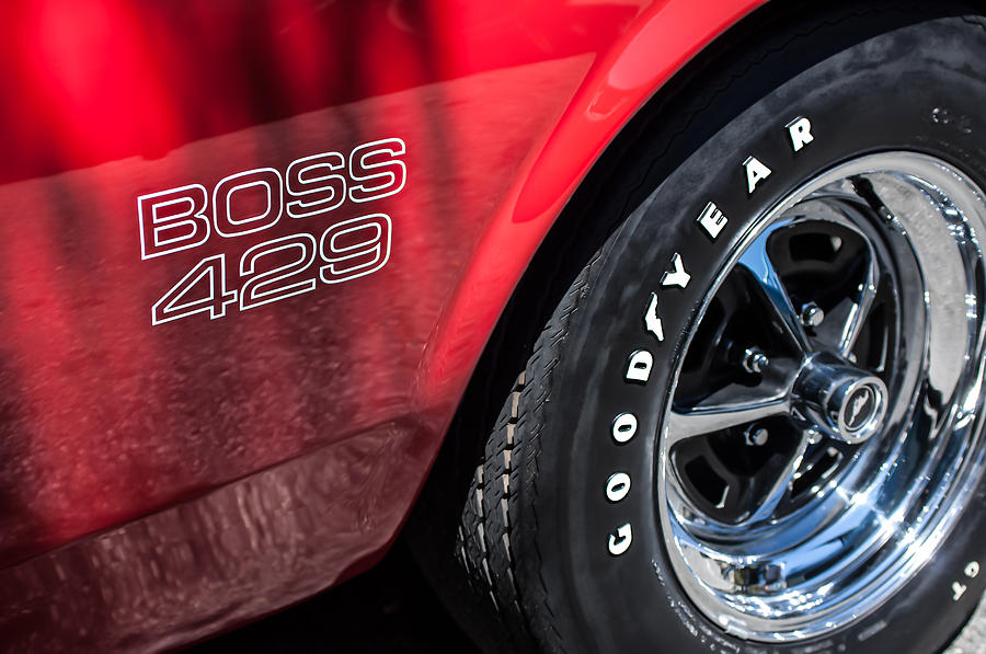1969 Ford Mustang Photograph - 1969 Ford Mustang Boss 429 Sportsroof Side Emblem - Wheel by Jill Reger