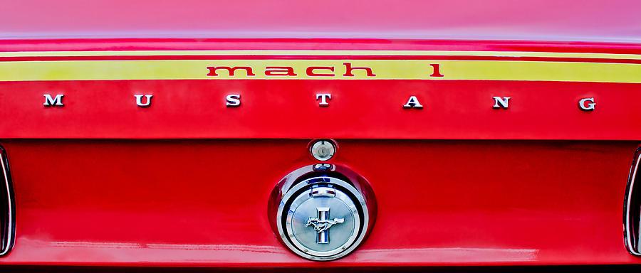 1969 Mustang Photograph - 1969 Ford Mustang Mach 1 Rear Emblems by Jill Reger