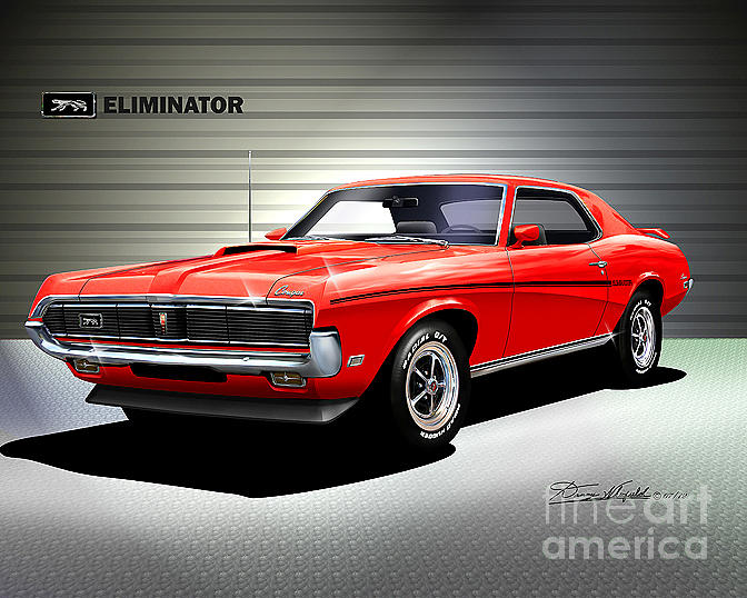 2018 Mercury Cougar >> 1969 Mercury Cougar Eliminator Bright Red Drawing by Danny Whitfield