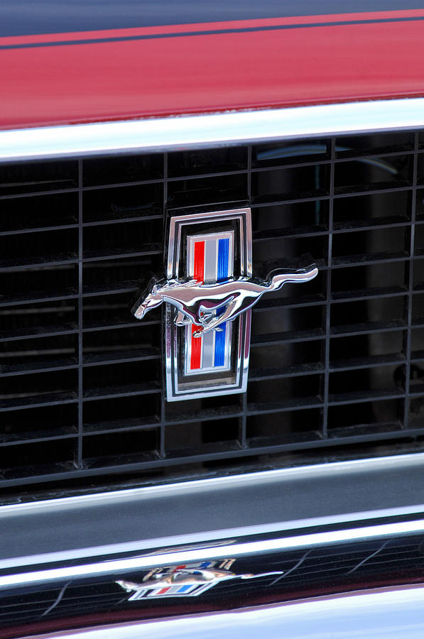 1969 Ford Mustang Photograph - 1969 Mustang Mach 1 Grille Emblem by Jill Reger