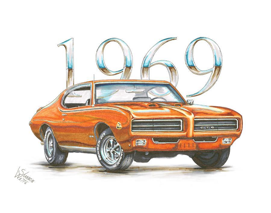 1969 pontiac gto judge drawing by shannon watts1969 pontiac gto judge