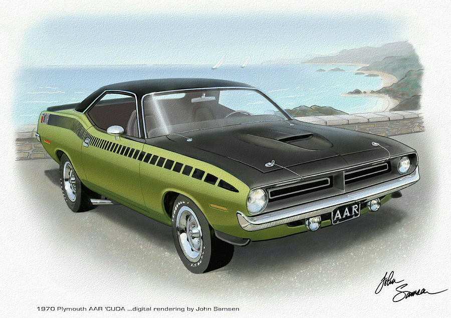 Aar Cuda Painting - 1970 Barracuda Aar Cuda Muscle Car Sketch Rendering by John Samsen