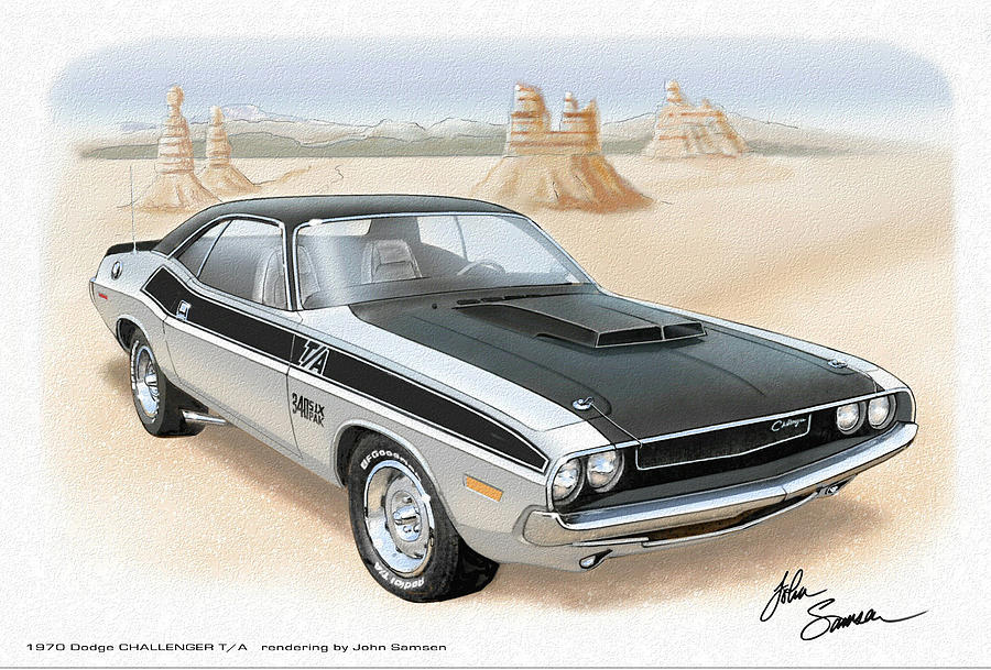 Silver Painting - 1970 Challenger T-a Dodge Muscle Car Sketch Rendering by John Samsen
