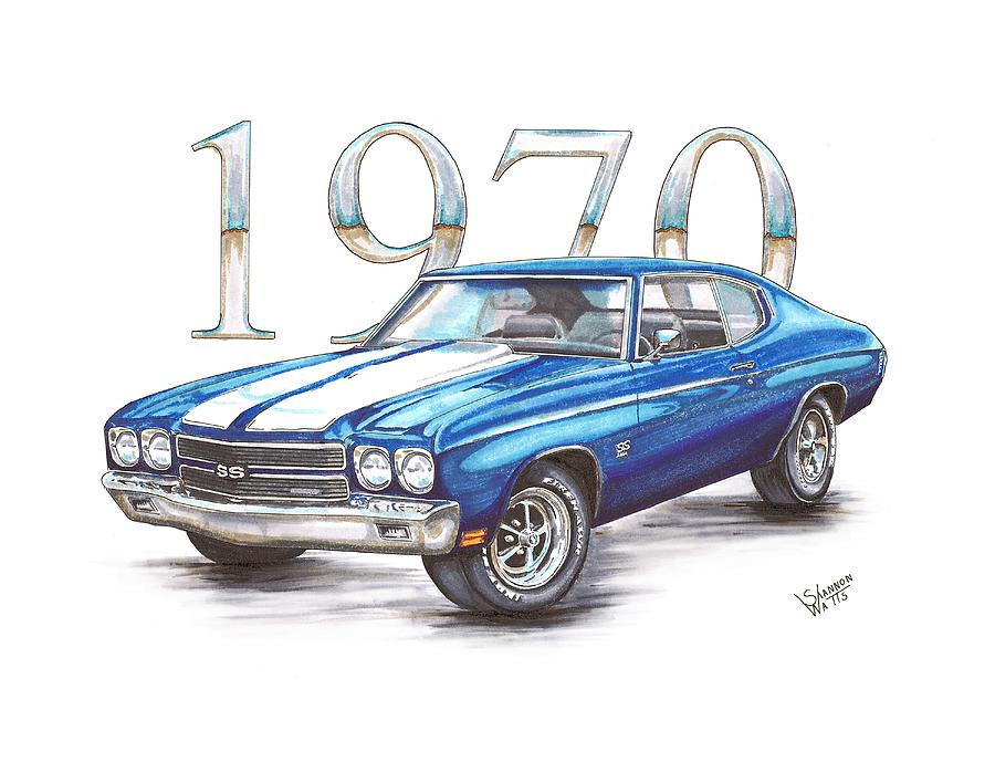 846b7364 1970 Chevrolet Chevelle Super Sport Drawing by Shannon Watts