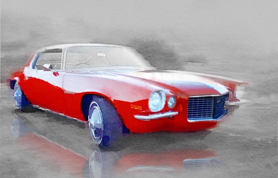 Chevy Camaro Painting - 1970 Chevy Camaro Watercolor by Naxart Studio