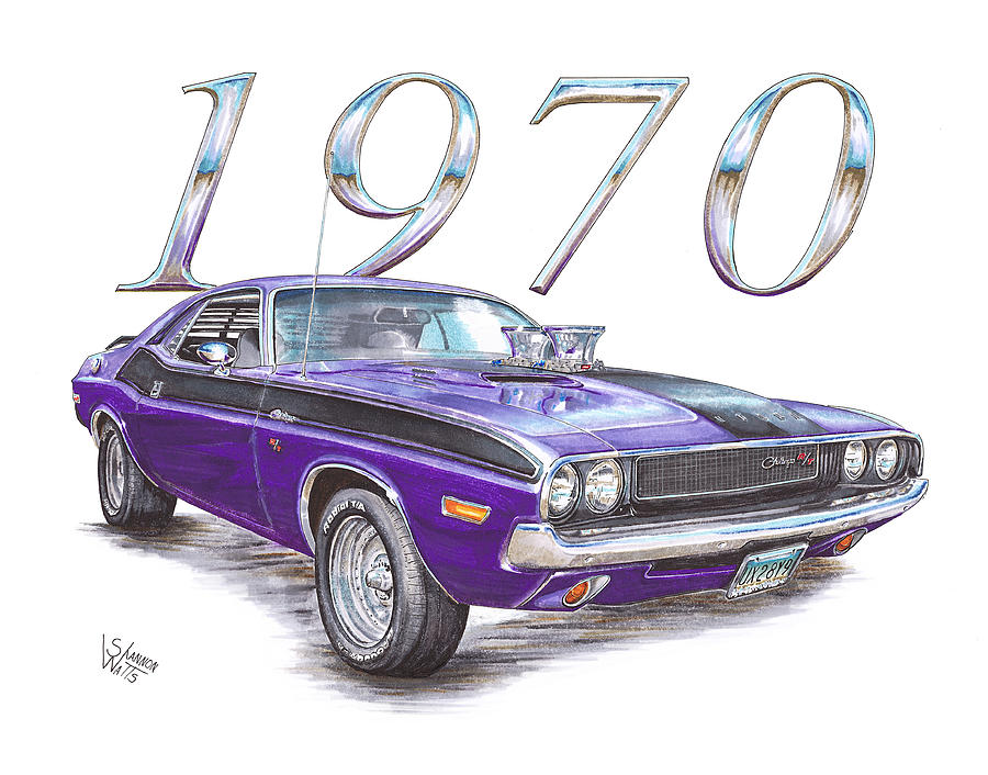 1970 Dodge Challenger Drawing By Shannon Watts