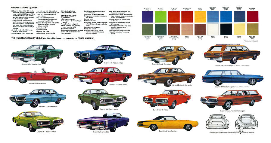 1970 Dodge Coronet Models And Colors Digital Art By