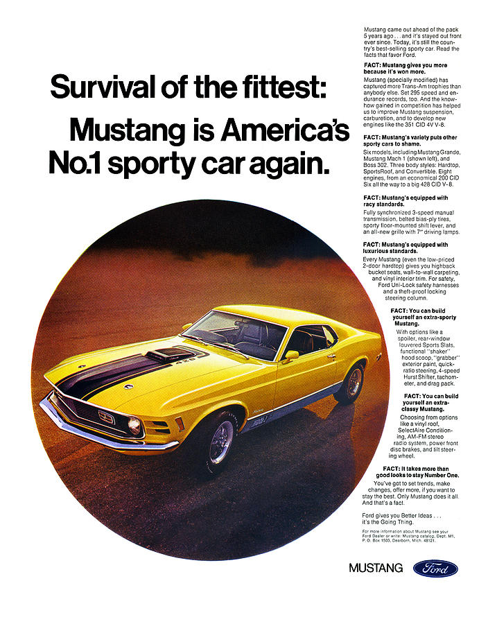 1970 Mustang Mach 1 Art Prints comes in 7 different exterior color ...