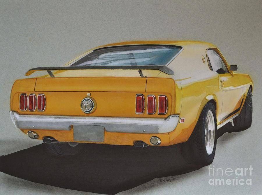 1970 Drawing - 1970 Mustang Fastback by Paul Kuras