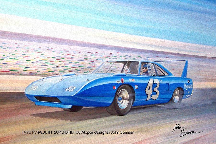 1970 Plymouth Painting - 1970 Superbird Petty Nascar Racecar Muscle Car Sketch Rendering by John Samsen