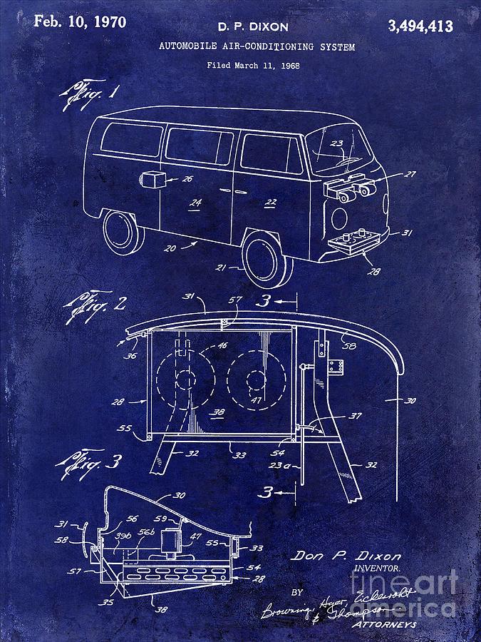 Vw Photograph - 1970 Vw Patent Drawing Blue by Jon Neidert
