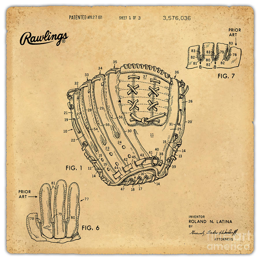 1971 Baseball Glove Patent Art Latina For Rawlings 1 Digital Art