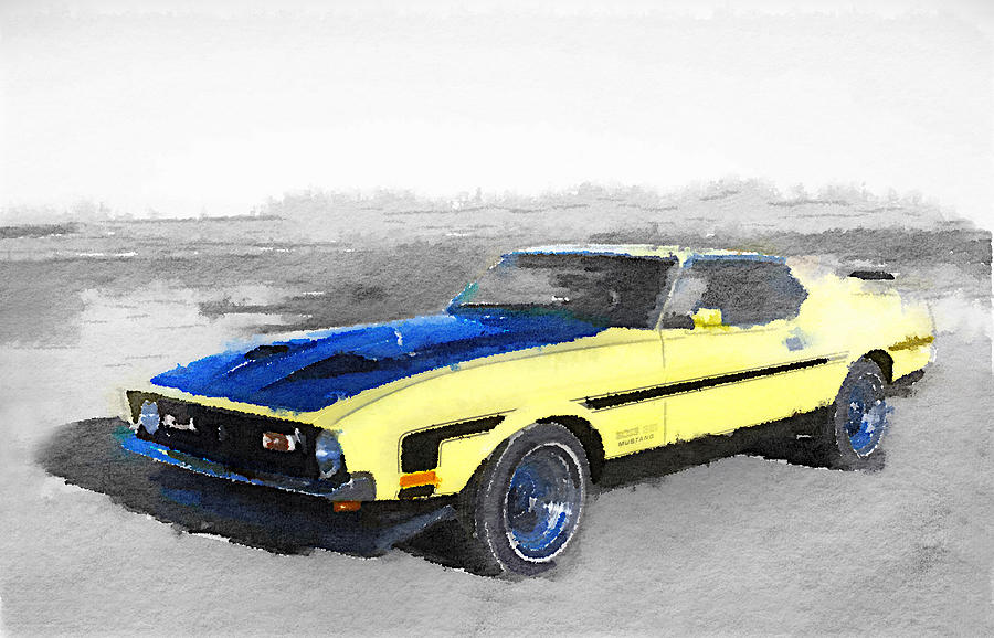 Ford Mustang Painting - 1971 Ford Mustang Boss Watercolor by Naxart Studio