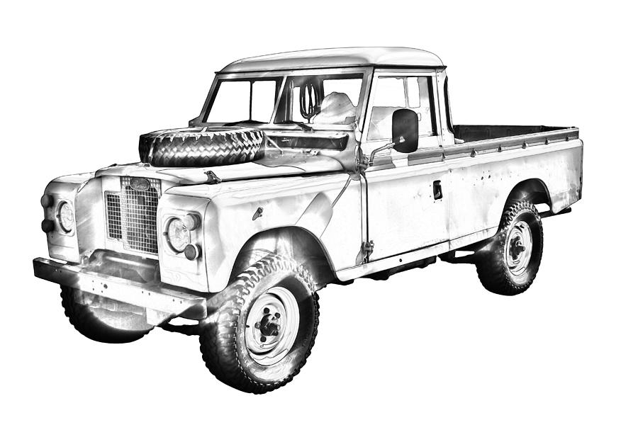 1971 land rover pick up truck drawing photograph by keith