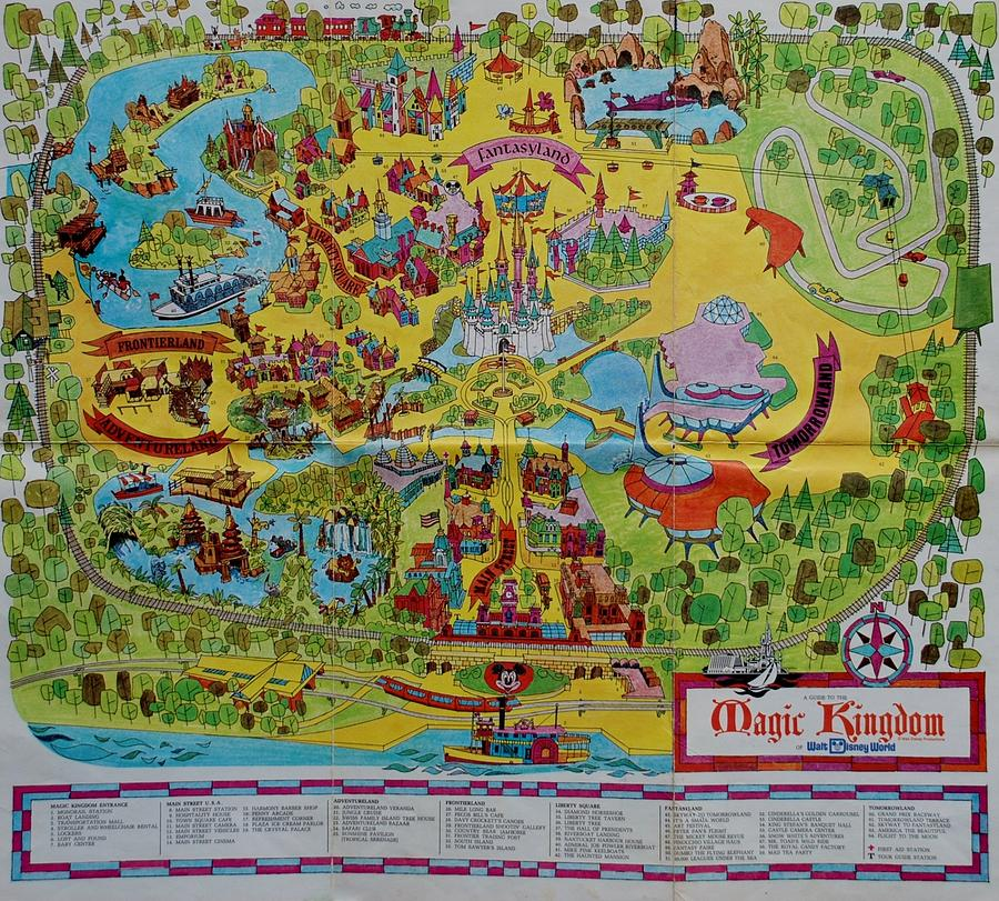Beautiful Walt Disney World Photograph   1971 Original Map Of The Magic Kingdom By  Rob Hans