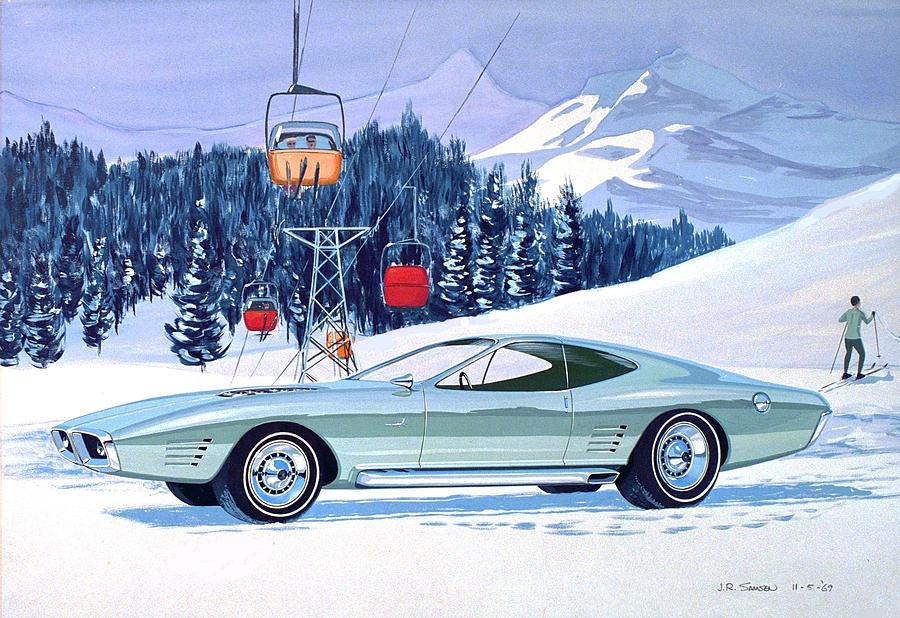 Classic Car Designs Painting - 1972 Barracuda Cuda Plymouth  Vintage Styling Design Concept Rendering Sk by John Samsen
