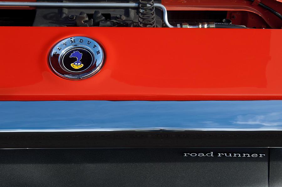 Muscle Car Photograph - 1972 Plymouth Road Runner Hood Emblem by Jill Reger