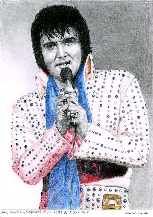 1973 Blue Rain Suit Drawing By Rob De Vries