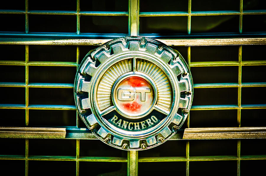 Classic Cars Photograph - 1973 Ford Ranchero Grille Emblem -0769c by Jill Reger