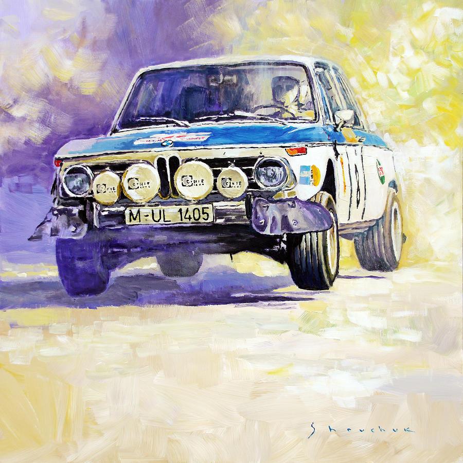 Automotive Painting - 1973 Rallye Of Portugal Bmw 2002 Warmbold Davenport by Yuriy Shevchuk