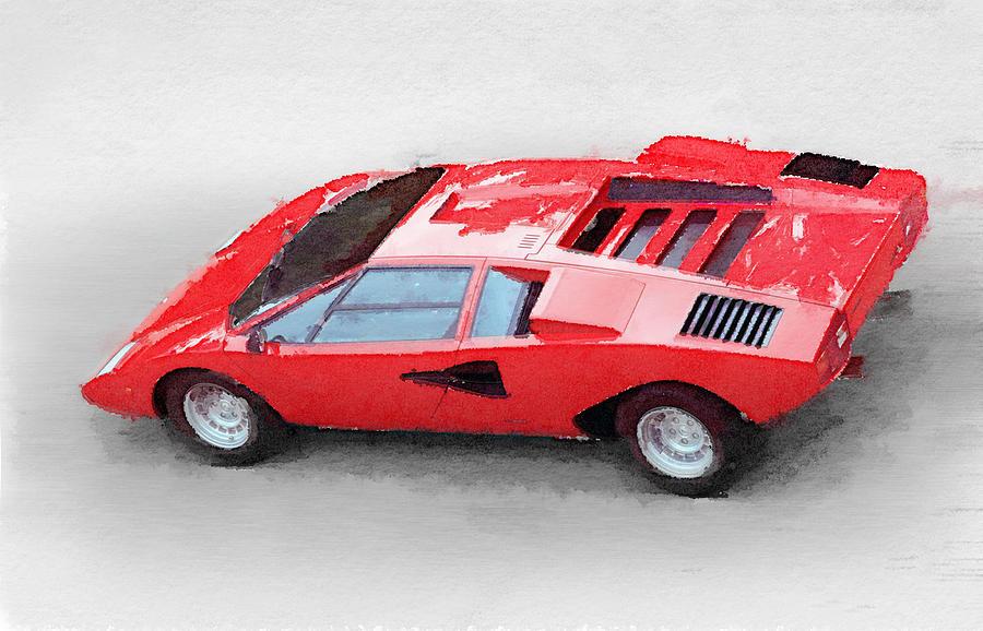 Lamborghini Painting - 1974 Lamborghini Countach Watercolor by Naxart Studio
