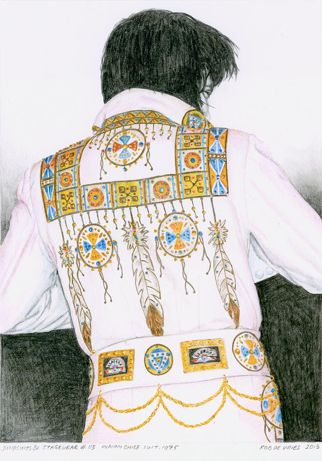 Elvis Drawing - 1975 Indian Chief Suit by Rob De Vries