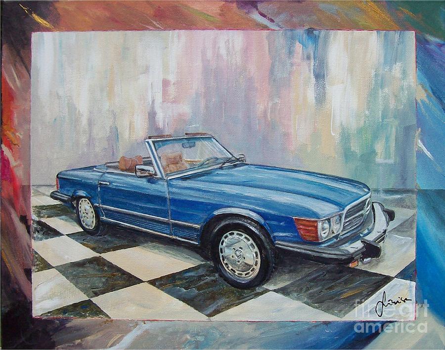Acrylic On Canvas Painting - 1976 Mercedes-benz 450 Sl by Sinisa Saratlic