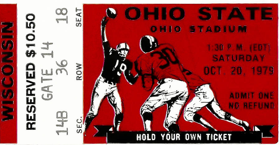 Ticket Photograph - 1979 Ohio State Vs Wisconsin Football Ticket by David Patterson