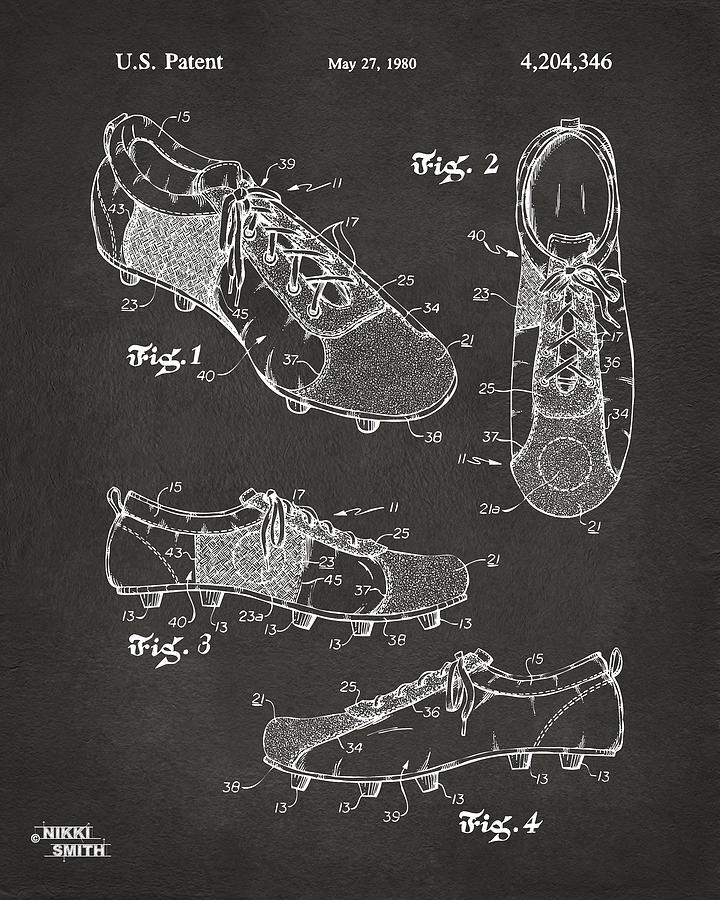 Soccer Digital Art - 1980 Soccer Shoes Patent Artwork - Gray by Nikki Marie Smith