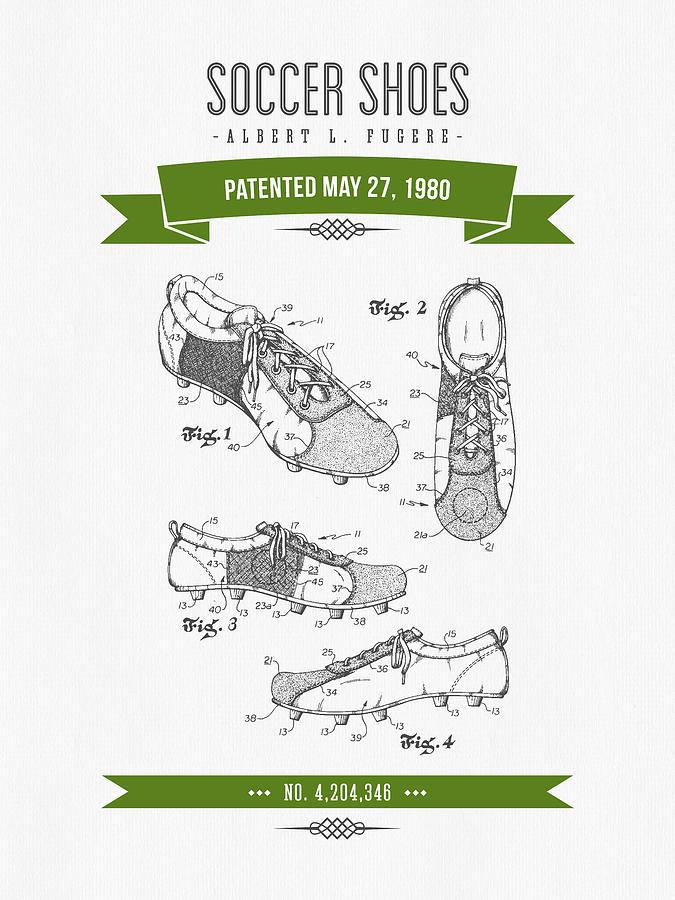 1980 Soccer Shoes Patent Drawing - Retro Green Digital Art