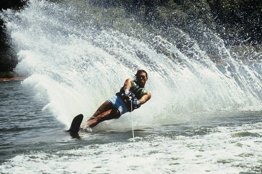 Horizontal Photograph - 1980s Man Waterskiing Making Fan by Vintage Images