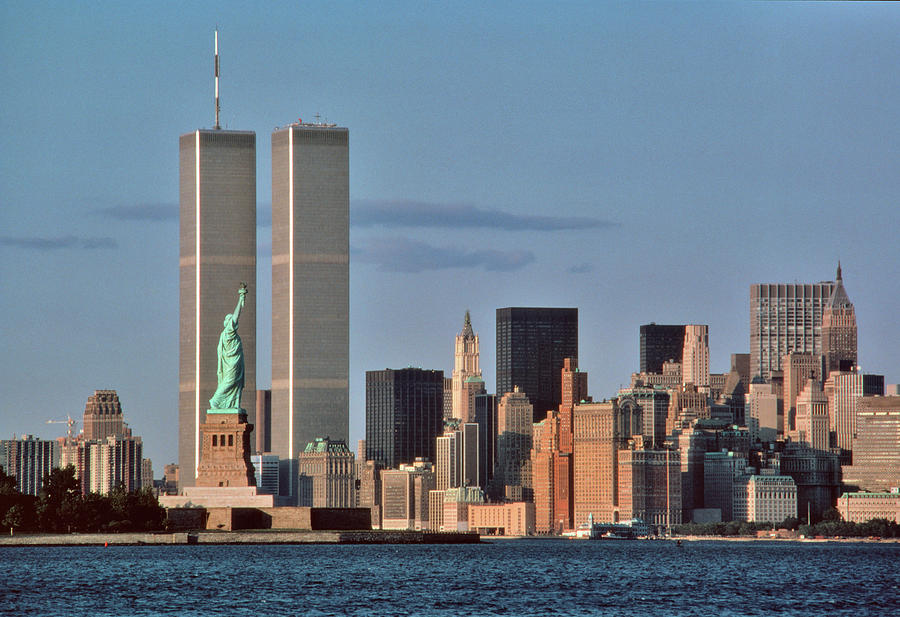 Horizontal Photograph - 1980s Statue Of Liberty And Twin Towers by Vintage Images