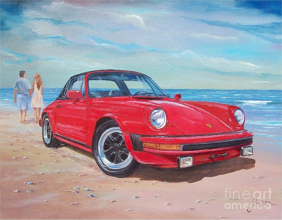 1985 Porsche 911 Targa Painting By Sinisa Saratlic