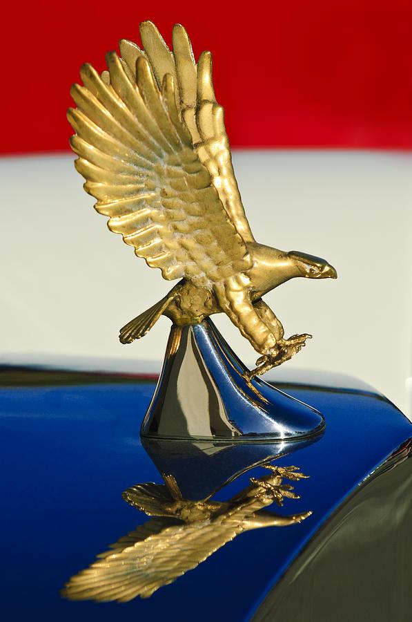 Eagle Photograph - 1986 Zimmer Golden Spirit Hood Ornament by Jill Reger